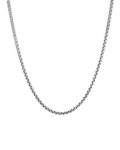 Men's Small Silver Box Chain Necklace  22L