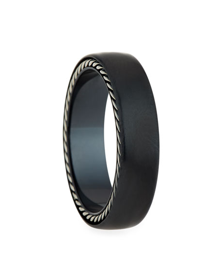 David Yurman Men's Streamline Narrow Band Ring w/ Black Titanium, Size 11