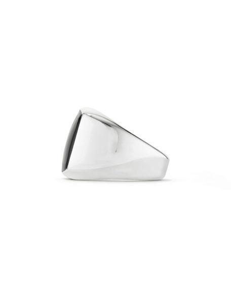 David Yurman Men's Silver Signet Ring with Black Onyx Cushion Inlay