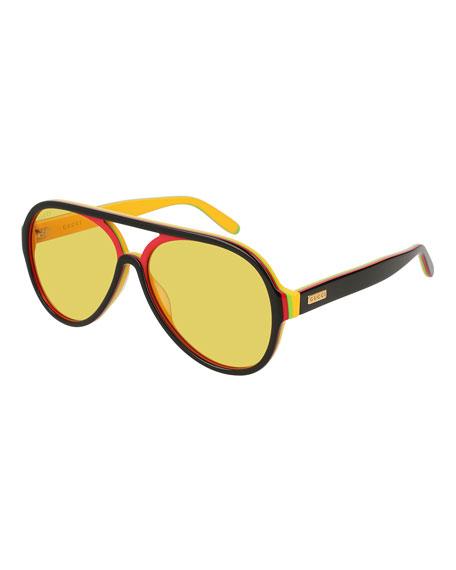 Gucci Men's Multicolor Shield Acetate Sunglasses