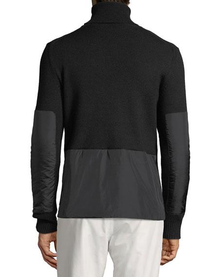 Men's Biker Knit Turtleneck Sweater