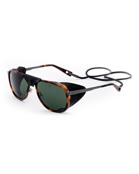 Vuarnet Men's Glacier XL Polarized Sunglasses w/ Removable Leather Side Case