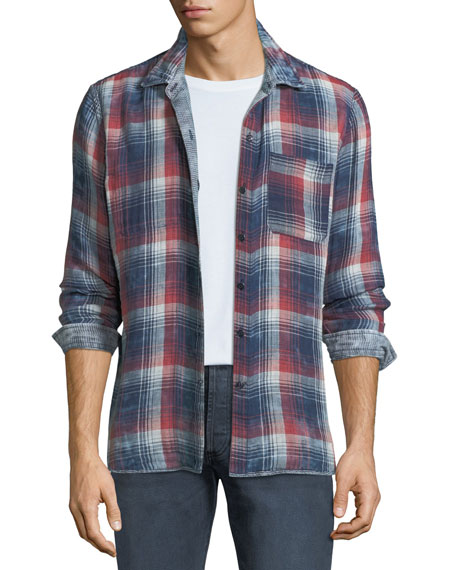 John Varvatos Star USA Men's Reversible Plaid/Check Sport
