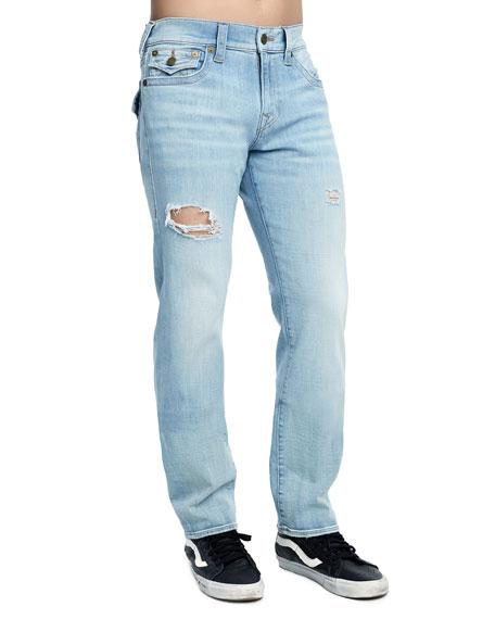 True Religion Men's Geno Distressed Slim-Straight Jeans, Jet Smoke