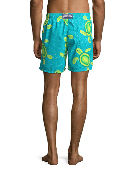 Vilebrequin Men's Moorea Mosaic Turtles Swim Trunks