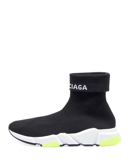 Men's Speed High-Top Stretch-Knit Sock Sneakers
