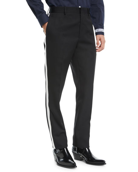 Men's MWPA12 Two-Tone Side-Stripe Wool Pants