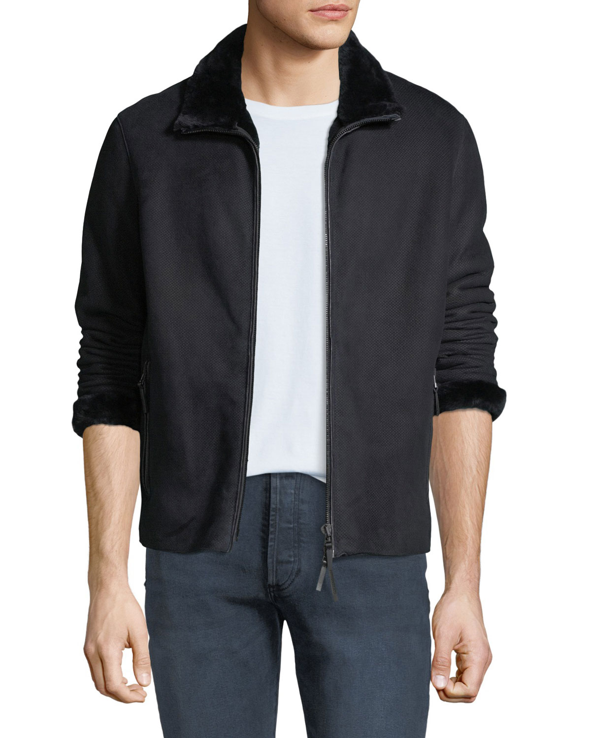 32a14398 Men's Shearling-Lined Suede Jacket