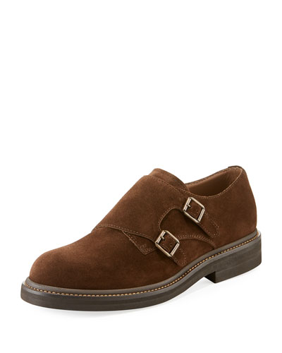 Men's Suede Double-Monk Shoes