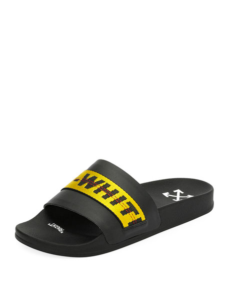 Men's Logo Striped Pool Slide by Off White