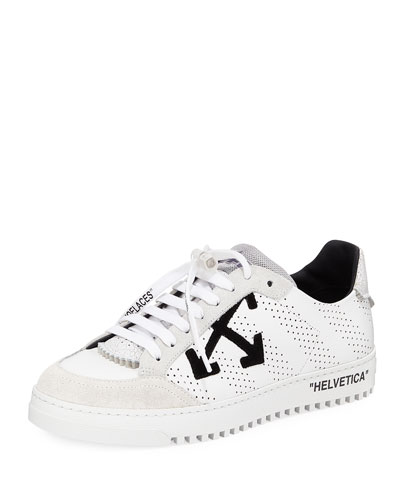Men's 2.0 Perforated Leather & Suede Low-Top Sneakers, White