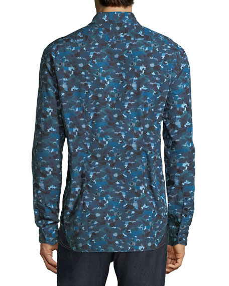 Culturata Men's Abstract-Print Cotton Sport Shirt