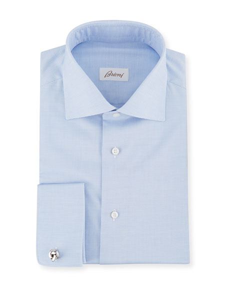 Image 1 of 2: Men's Horizontal Weave French-Cuff Dress Shirt