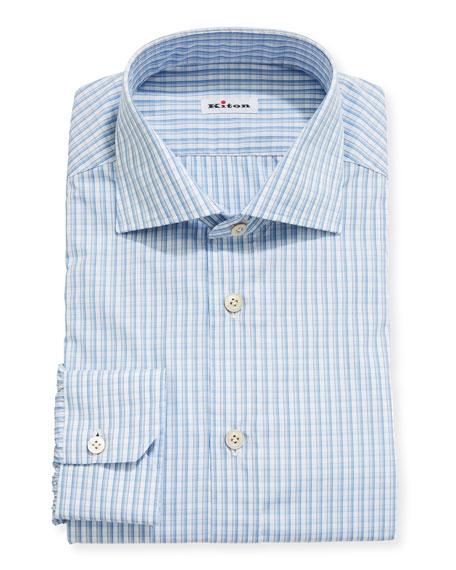 Kiton Men's Check Cotton Dress Shirt