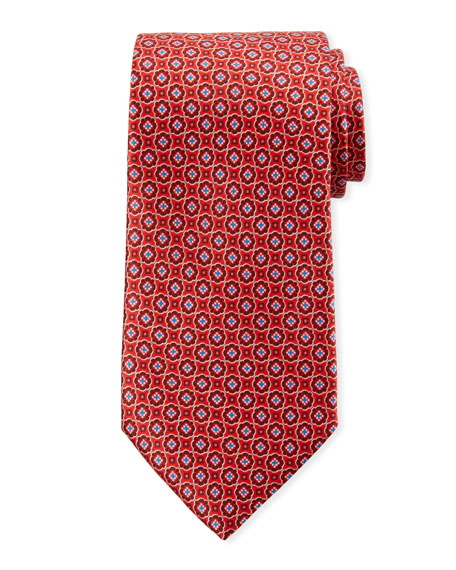 Canali Men's Connected Medallions Silk Tie, Red