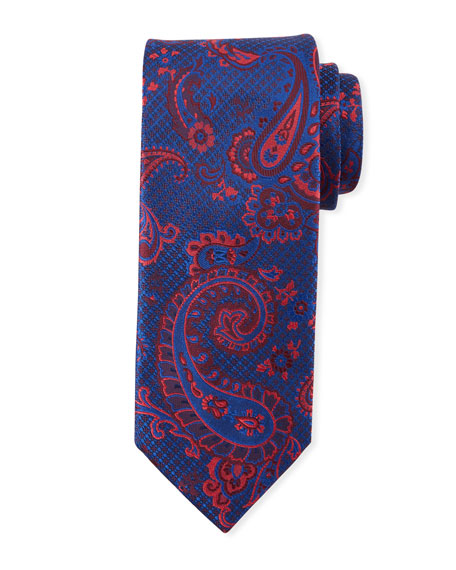 Canali Paisley-On-Jacquard Silk Tie, Red