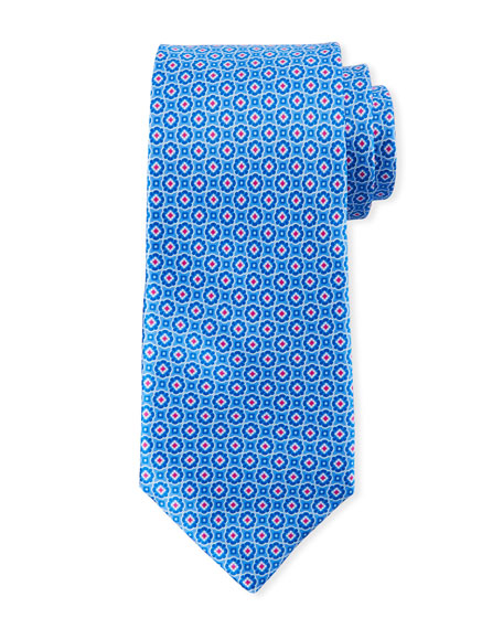 Canali Men's Connected Medallions Silk Tie, Blue