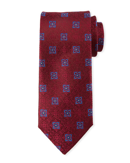 Canali Men's Fancy Medallion Silk Tie, Red