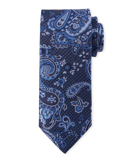 Canali Paisley-On-Jacquard Silk Tie, Blue