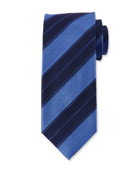 Canali Men's Double Repp Stripe Silk Tie, Blue