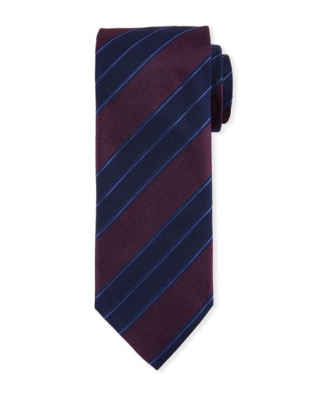 Canali Men's Double Repp Stripe Silk Tie, Burgundy