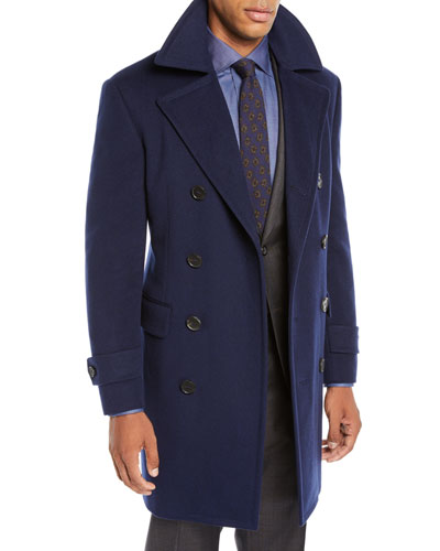 Men's Wool-Blend Double-Breasted Top Coat