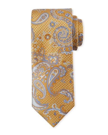 Canali Paisley-on-Jacquard Silk Tie, Yellow