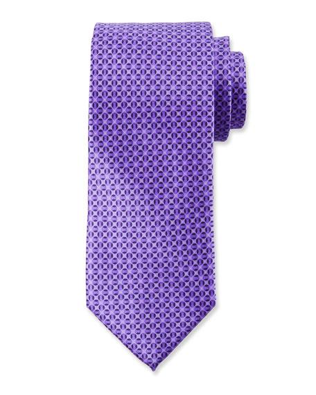 Canali Men's Tonal Circles Silk Tie, Purple