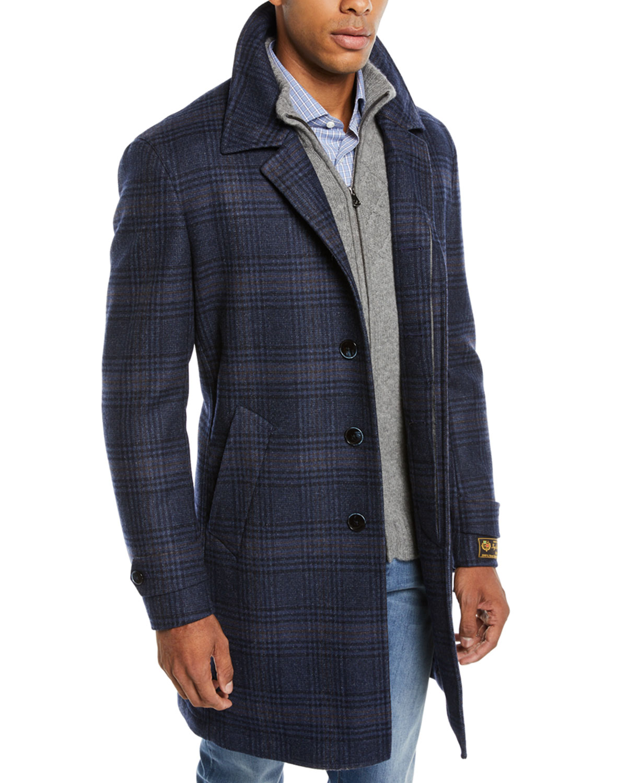 Neiman Marcus Men's Plaid Wool Car Coat