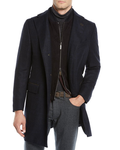Men's ID Plaid Cashmere Top Coat  Navy