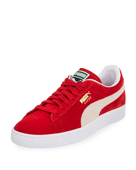 Men's Classic Suede Low-Top Sneakers, Red