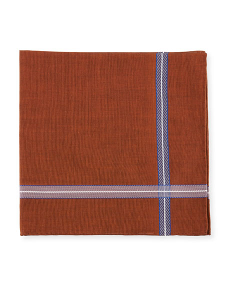 Simonnot Godard Chevron Jacquard-Trim Pocket Square