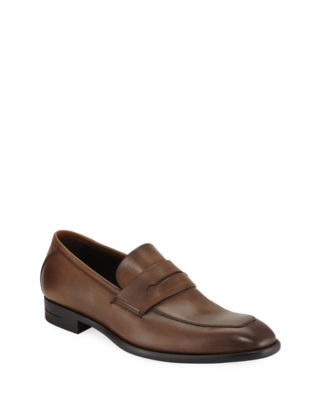 Ermenegildo Zegna Men's New Flex Leather Penny Loafer