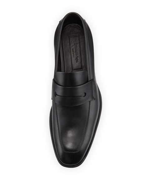 Men's New Flex Leather Penny Loafer, Black