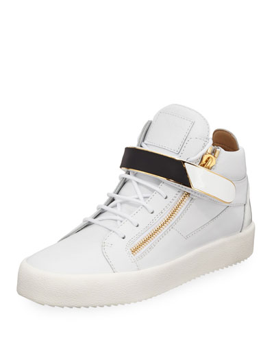Men's Single-Strap Leather Mid-Top Sneakers