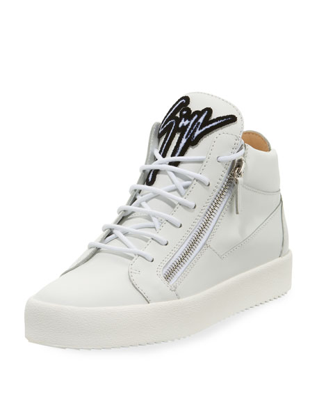 GIUSEPPE ZANOTTI Men'S Mid-Top Sneaker With Varsity Felt Logo, Bianco White