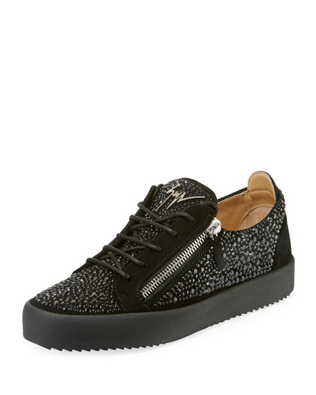 Giuseppe Zanotti Men's Crystal-Embellished Double-Zip Leather