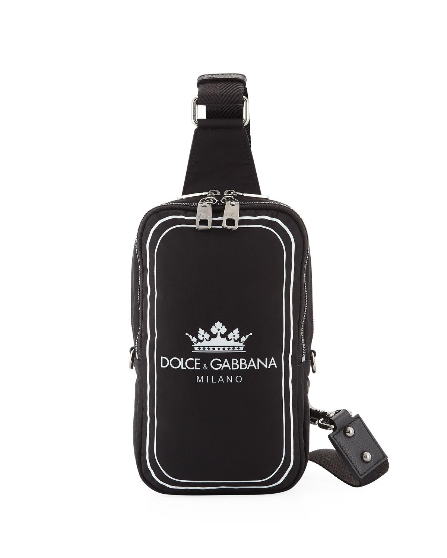 9dd1648d34d1 Dolce   Gabbana Men s Logo Crown Nylon Crossbody Sling Backpack ...