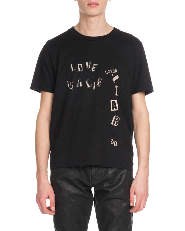 4e52dadd Saint Laurent Men's Love Is A Lie Graphic T-Shirt | Neiman Marcus