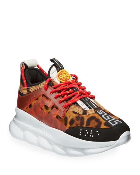 Versace Men's Chain Reaction Greek Key-Print Sneakers, Leopard