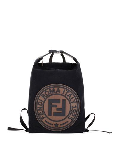 Men's Logo-Stamped Canvas Backpack