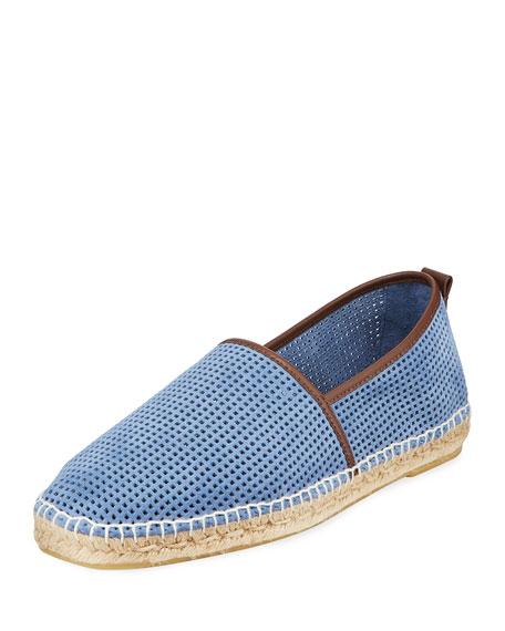 Men's Perforated Suede Slip-On Espadrilles, Light Blue