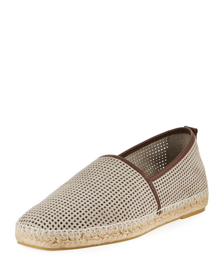 Men's Perforated Suede Slip-On Espadrilles, Light Beige