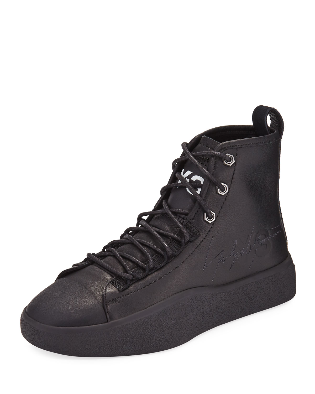 3dcd23d0a3f9 Y-3 Men s Bashyo Leather High-Top Sneakers