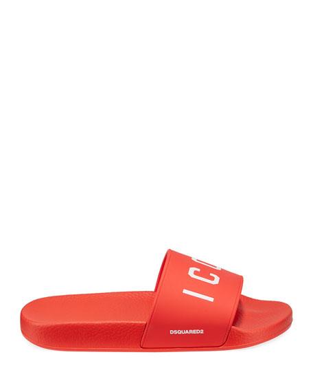 Men's Logo Rubber Slide Sandals, Red/White