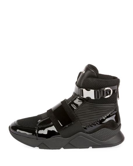 Balmain Men's Mesh High-Top Sneakers with Patent Leather Trim
