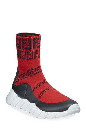 Fendi Men's FF Print Sock Boot Sneakers, Red