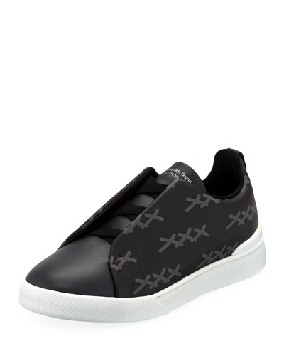 Men's Triple-Stitch Leather/Canvas Low-Top Sneakers