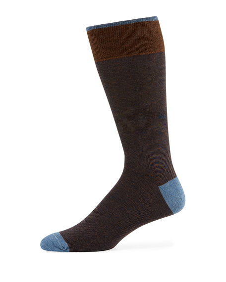 Image 1 of 1: Men's Millerighe Contrast-Trim Socks