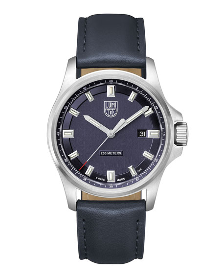 Luminox Men's Dress Field Watch with Leather Strap, Navy
